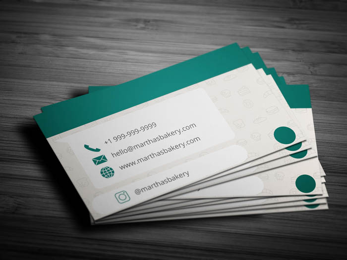 Whatsapp Themed Bakery Business Card - Back