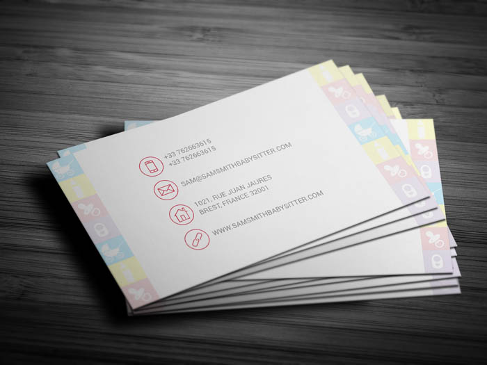 Elegant Babysitting Business Card - Back