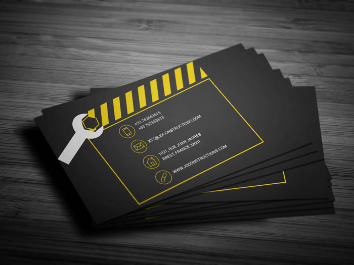 Building Construction Business Card - Back
