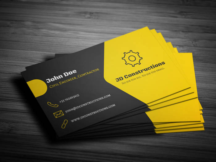 Construction Company Business Card Front Back