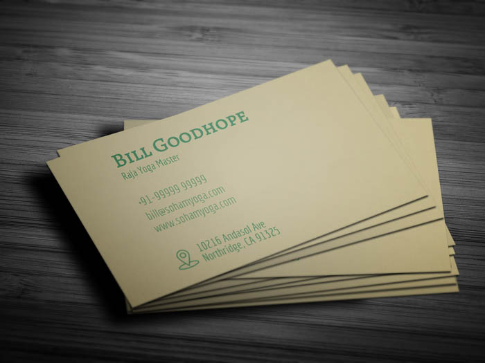 Yoga Mat Business Card - Back