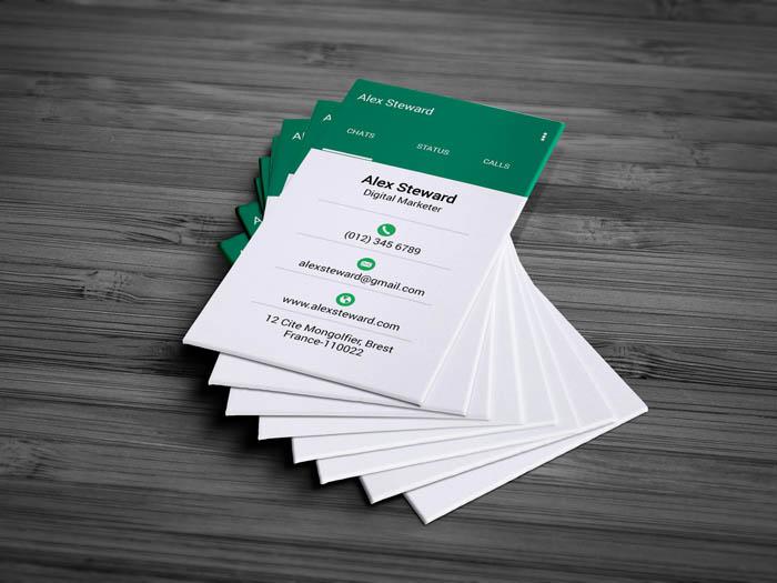 Whatsapp Themed Business Card - Back