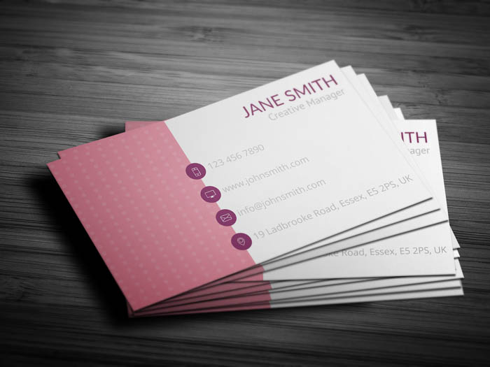 Pink Polka Dot Business Card - Back