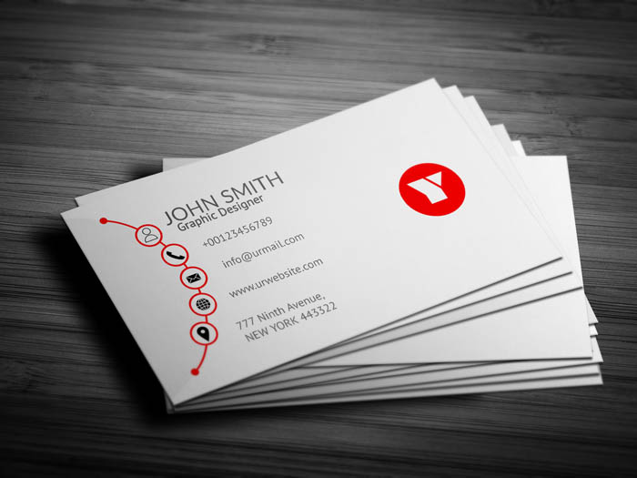 Red And White Designer Business Card - Back