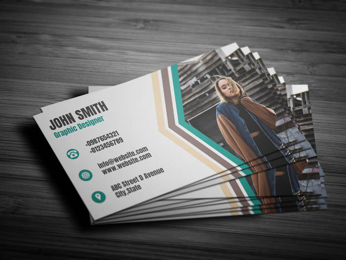 Model With Photo Business Card - Back
