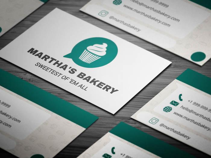 Whatsapp Themed Bakery Business Card