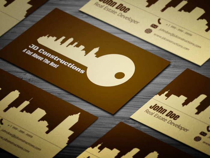 Unique Construction Business Card