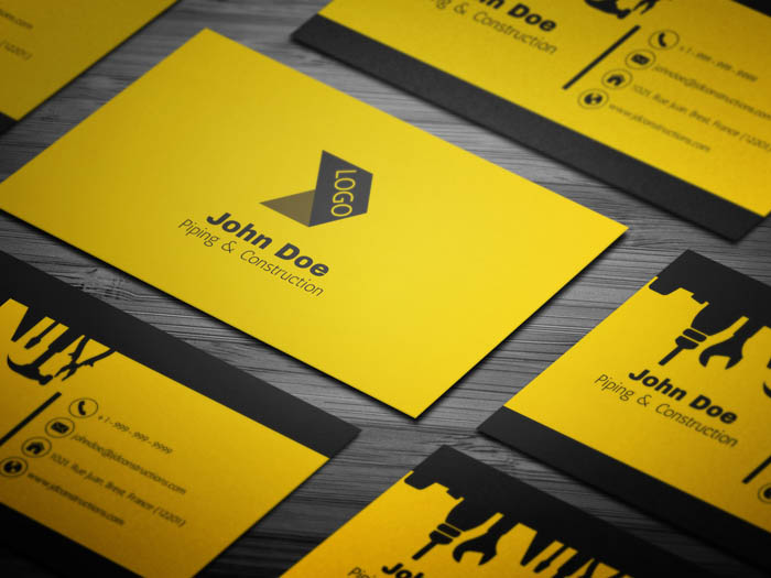 Free cool construction business card template cool construction business card fbccfo Image collections