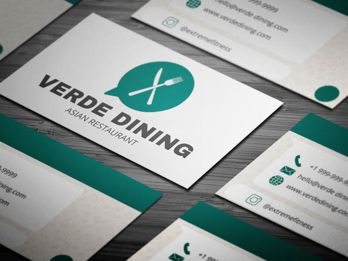 Whatsapp Themed Restaurant Business Card