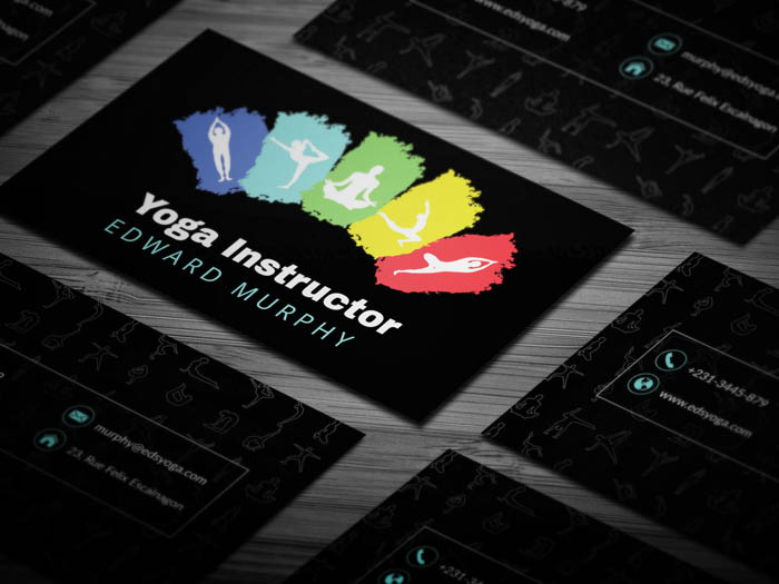 Multicolor Yoga Instructor Business Card