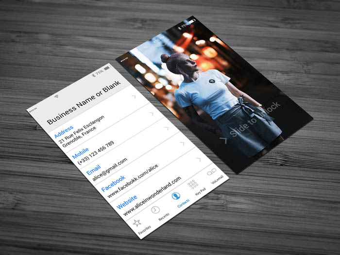 Iphone Contacts Theme Business Card