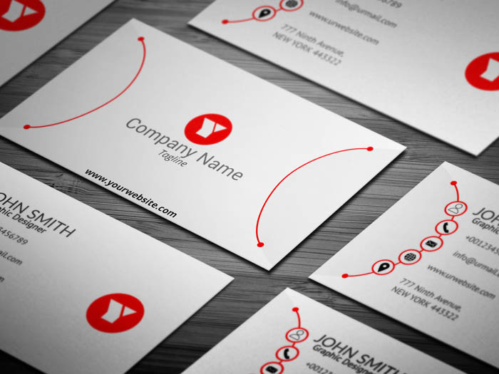 Red And White Designer Business Card