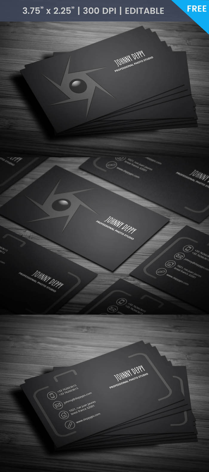 Unique Photographer Business Card - Full Preview