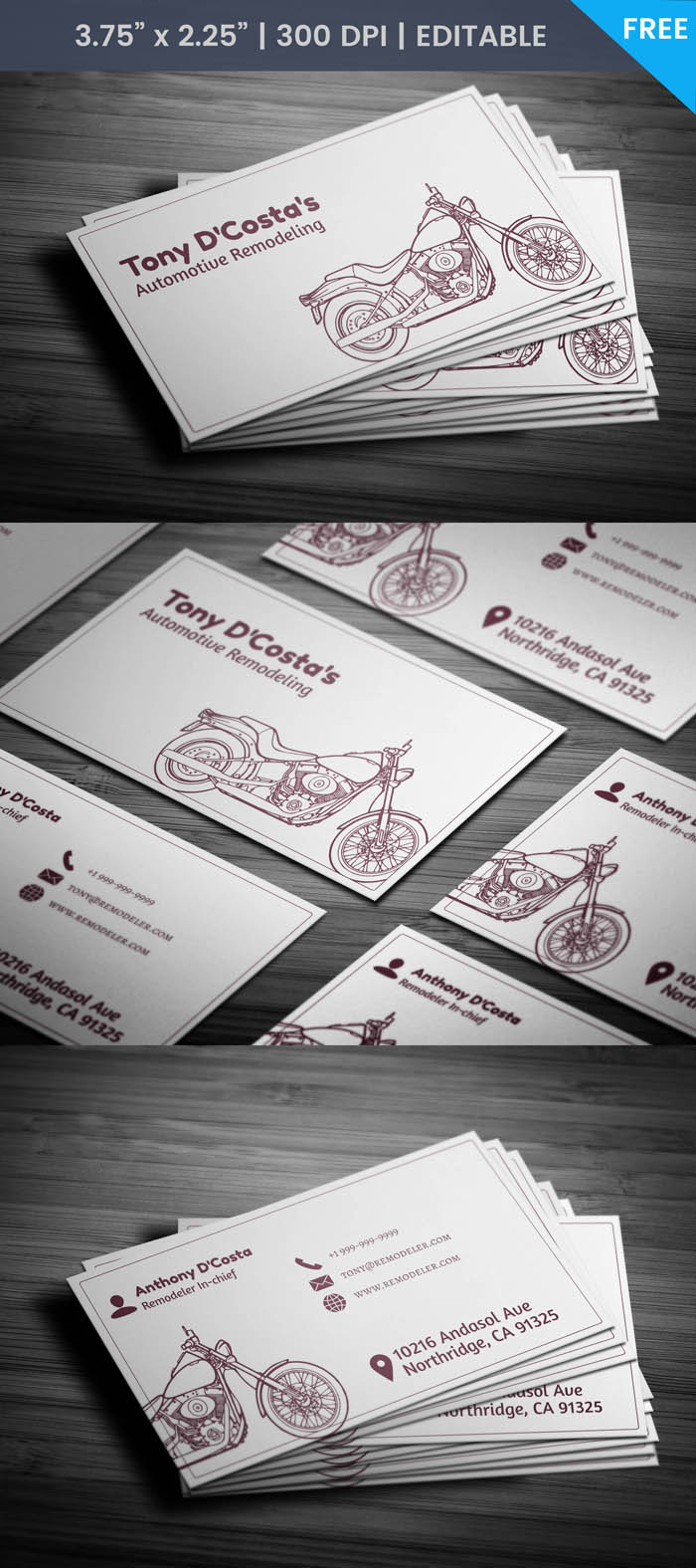 Free Auto Parts Business Card Template