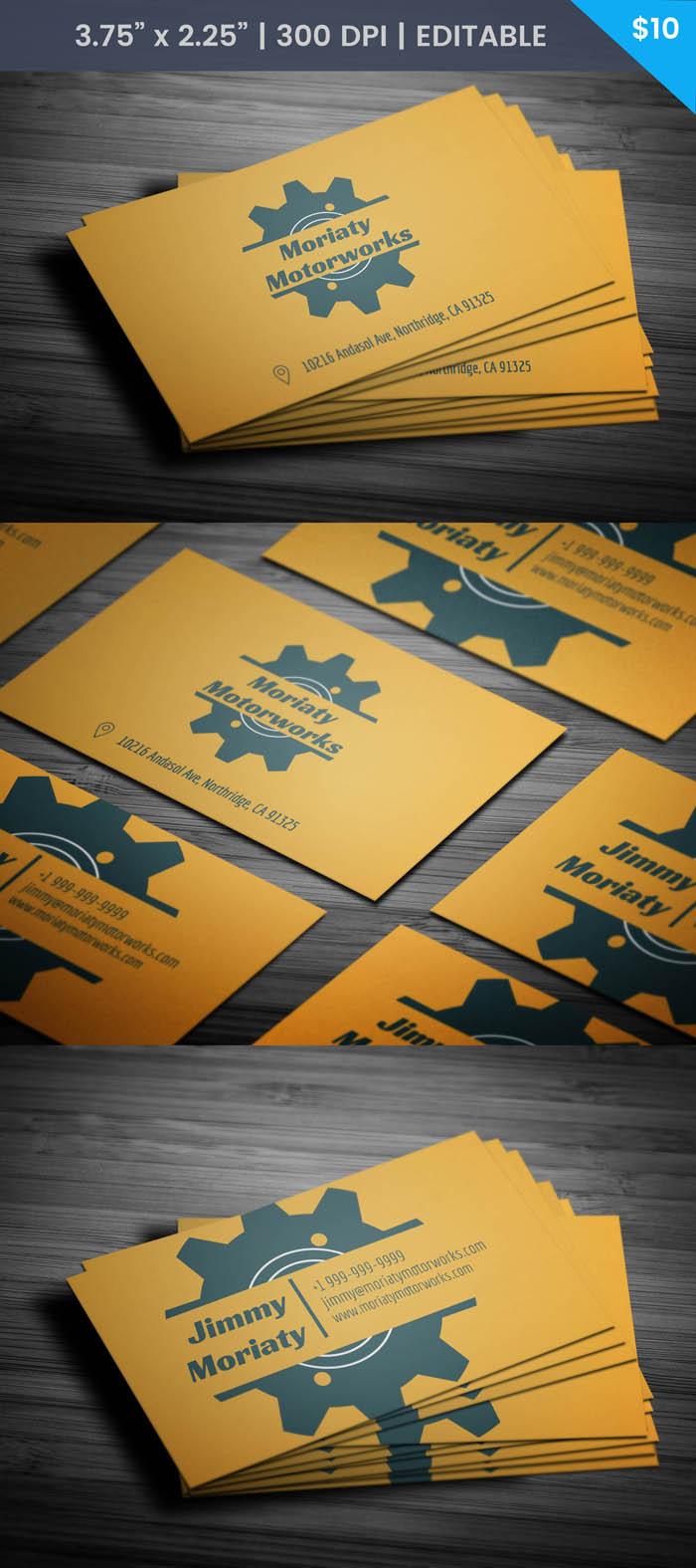 Free Minimal Mechanic Business Card Template #mechanic #businesscard