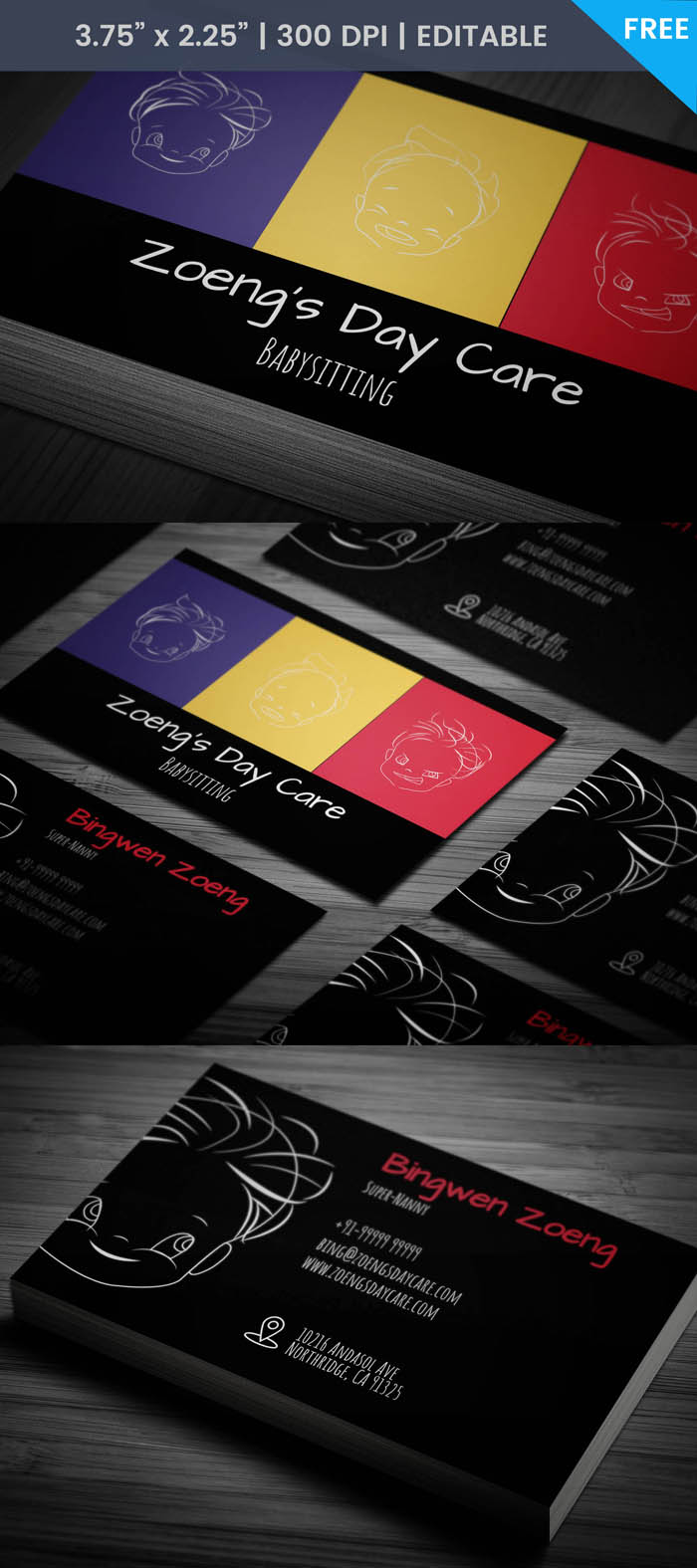 Colorful Babysitting Business Card Template