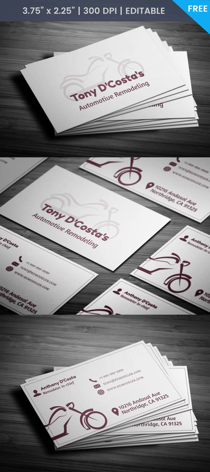 Free Bike Business Card Template