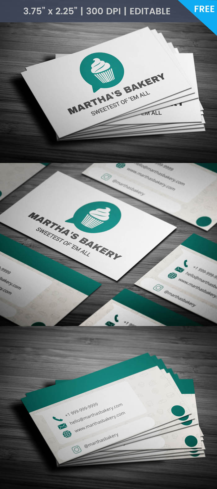 Free Whatsapp Themed Bakery Business Card Template