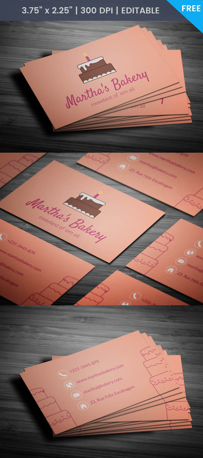 Free Pastry Business Card Template
