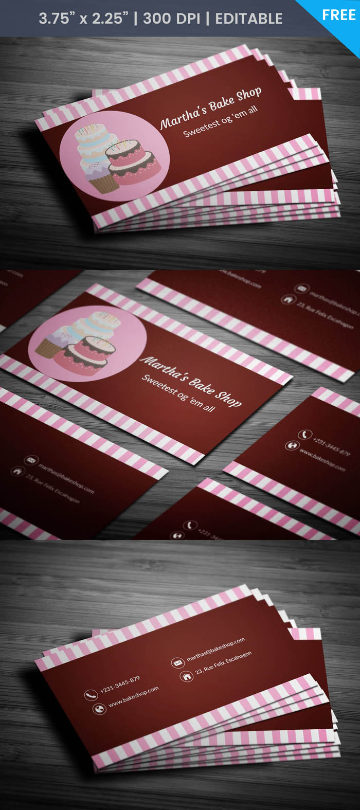 Free Home Bakery Business Card Template