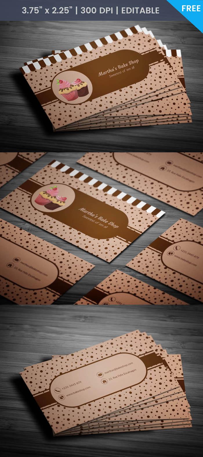 Free Desert Bakery Business Card Template
