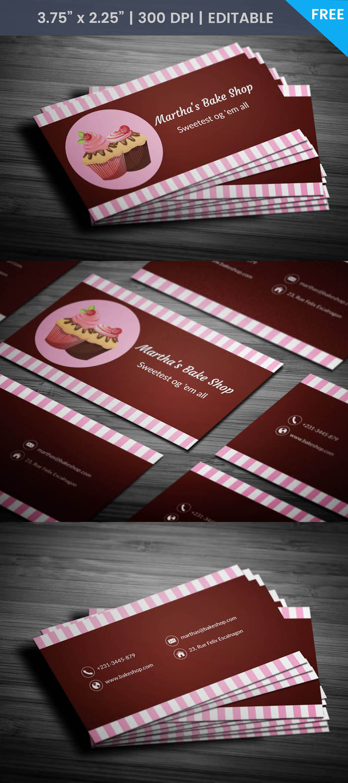Free Modern Bakery Business Card Template