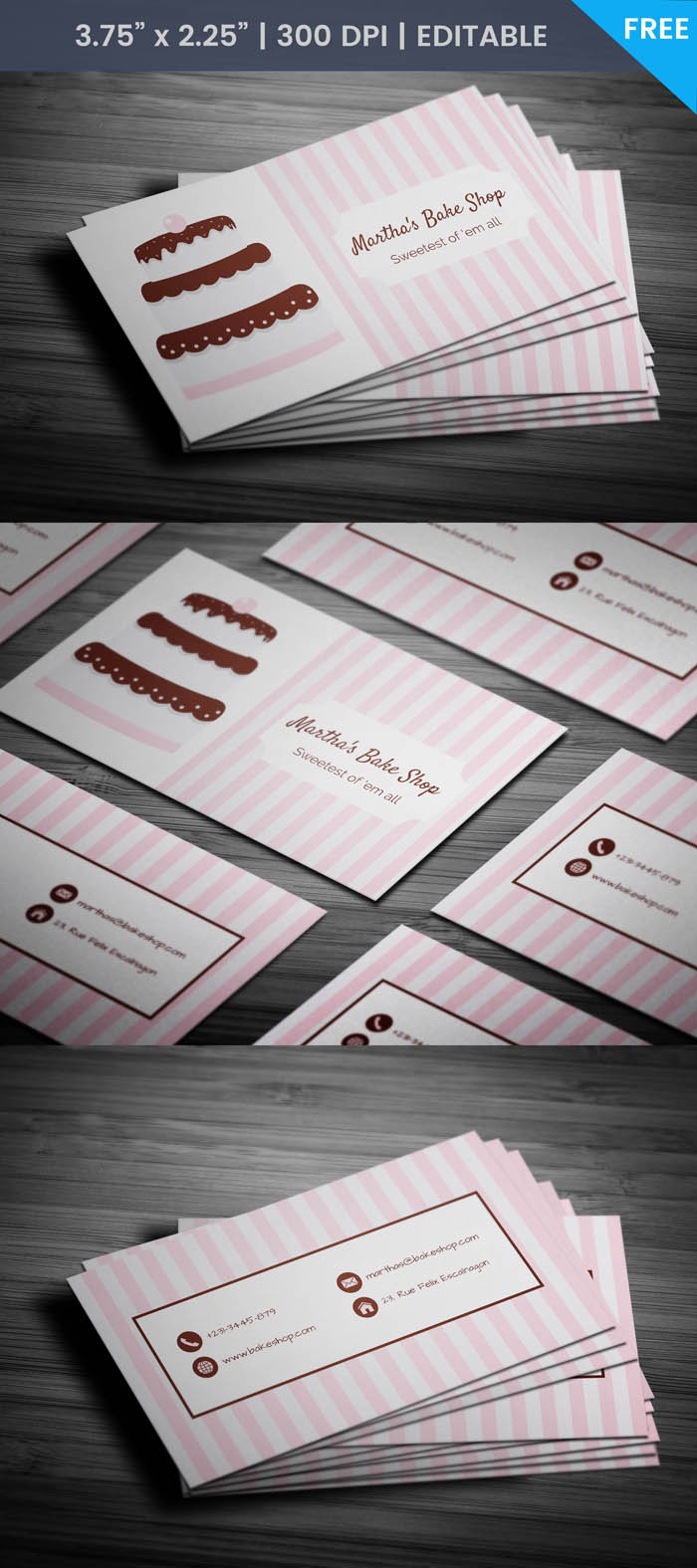 Free Unique Bakery Business Card Template