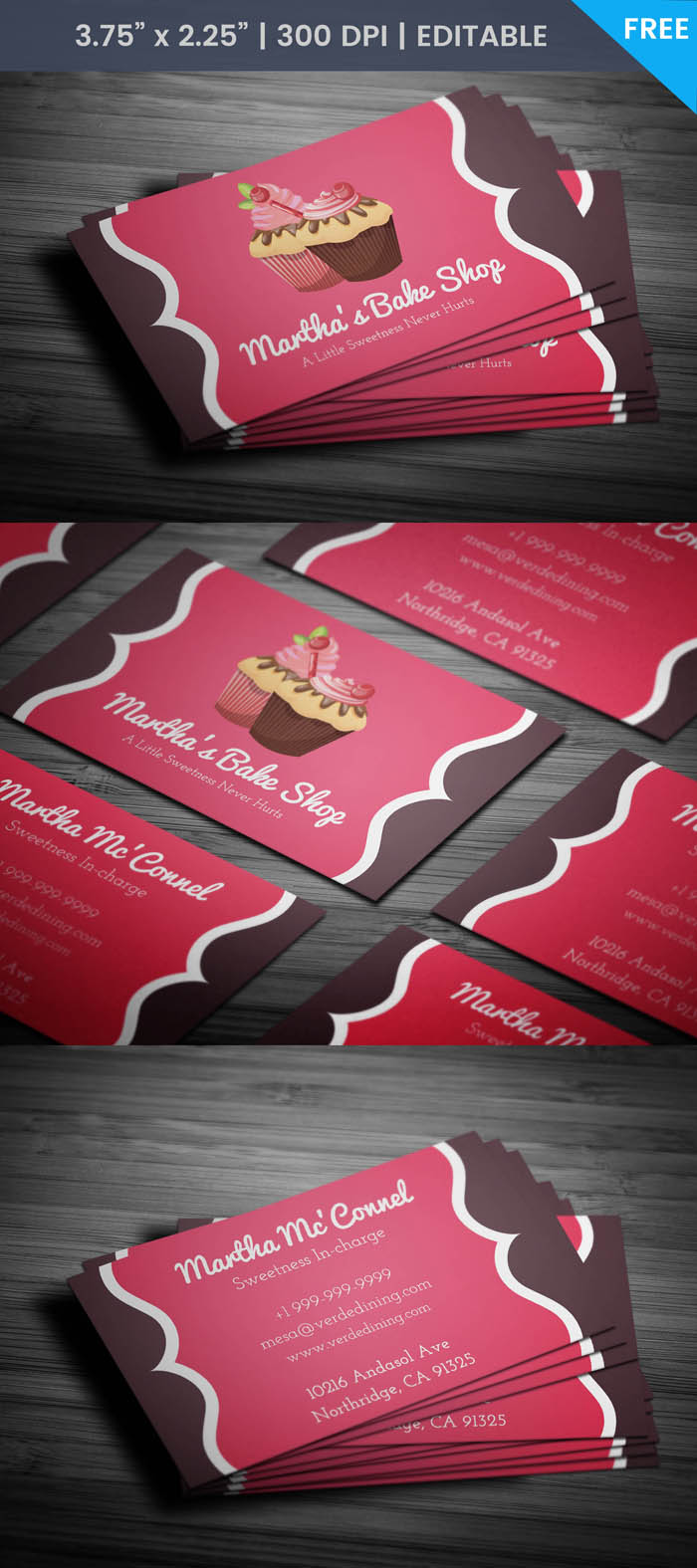 Free Pastry Chef Business Card Template