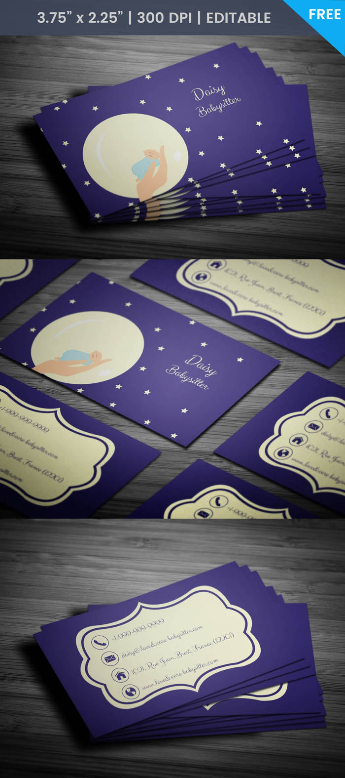Free Twinkling Stars Child Care Business Card Template