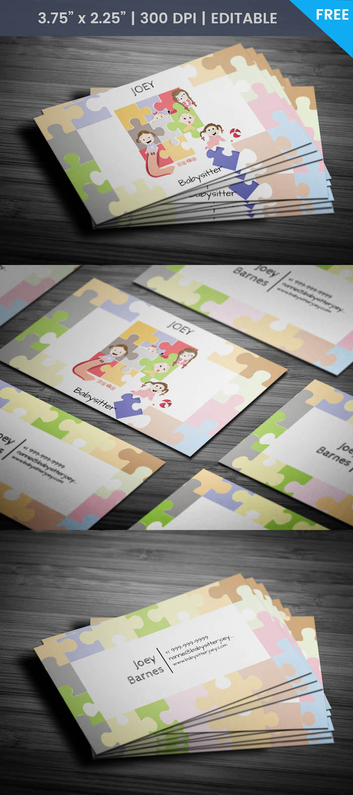 Free Cute Babysitter Business Card Template