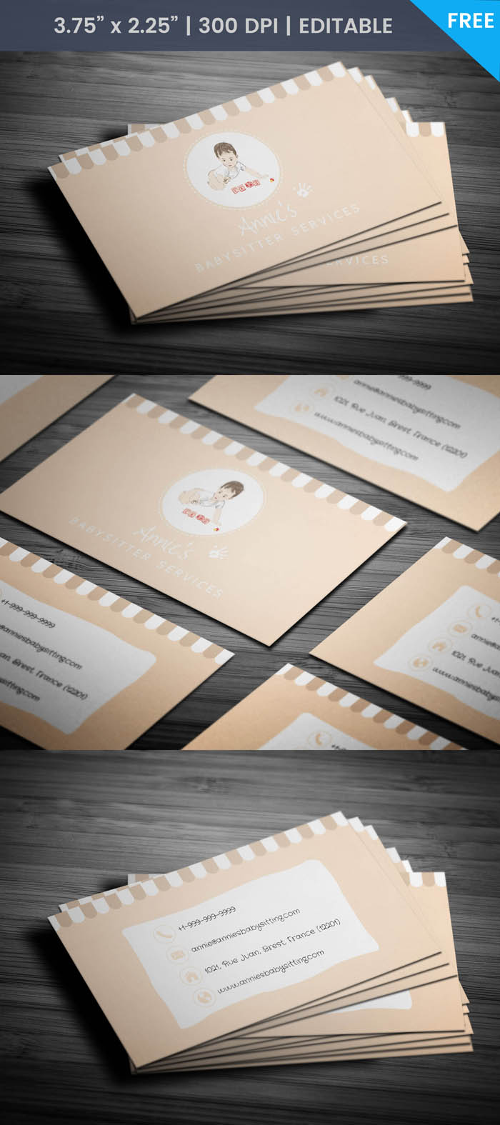 Free Adorable Babysitting Business Card Template