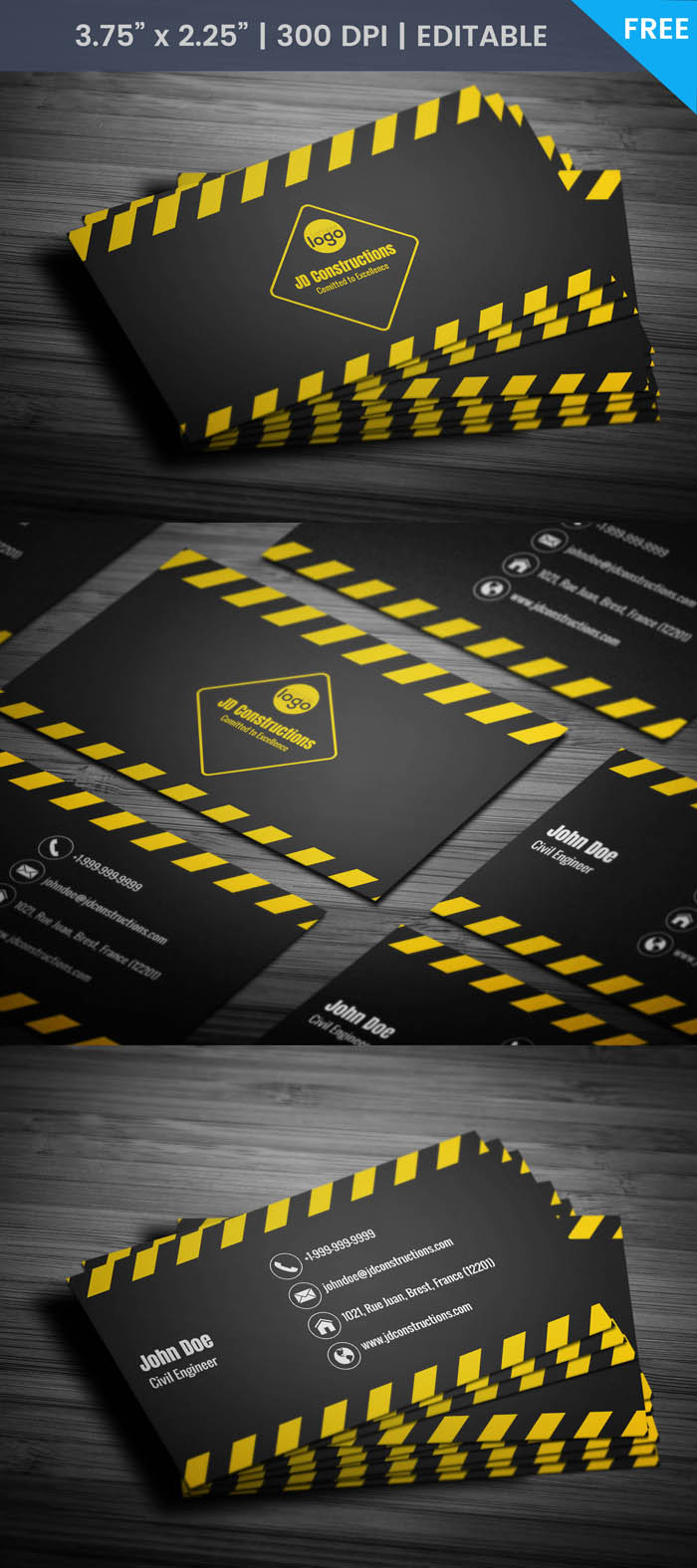 Free civil engineer business card template civil engineer business card full preview reheart Image collections