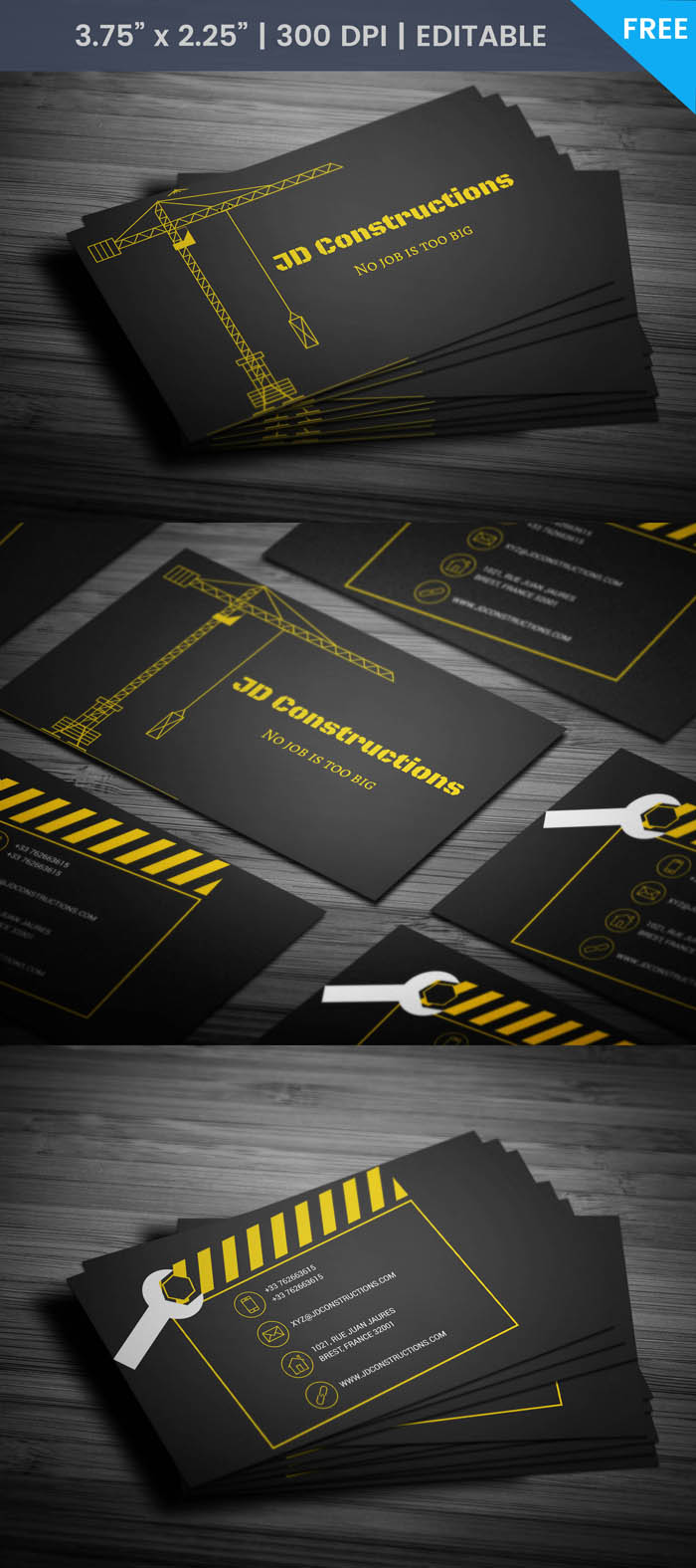 Free Building Construction Business Card Template