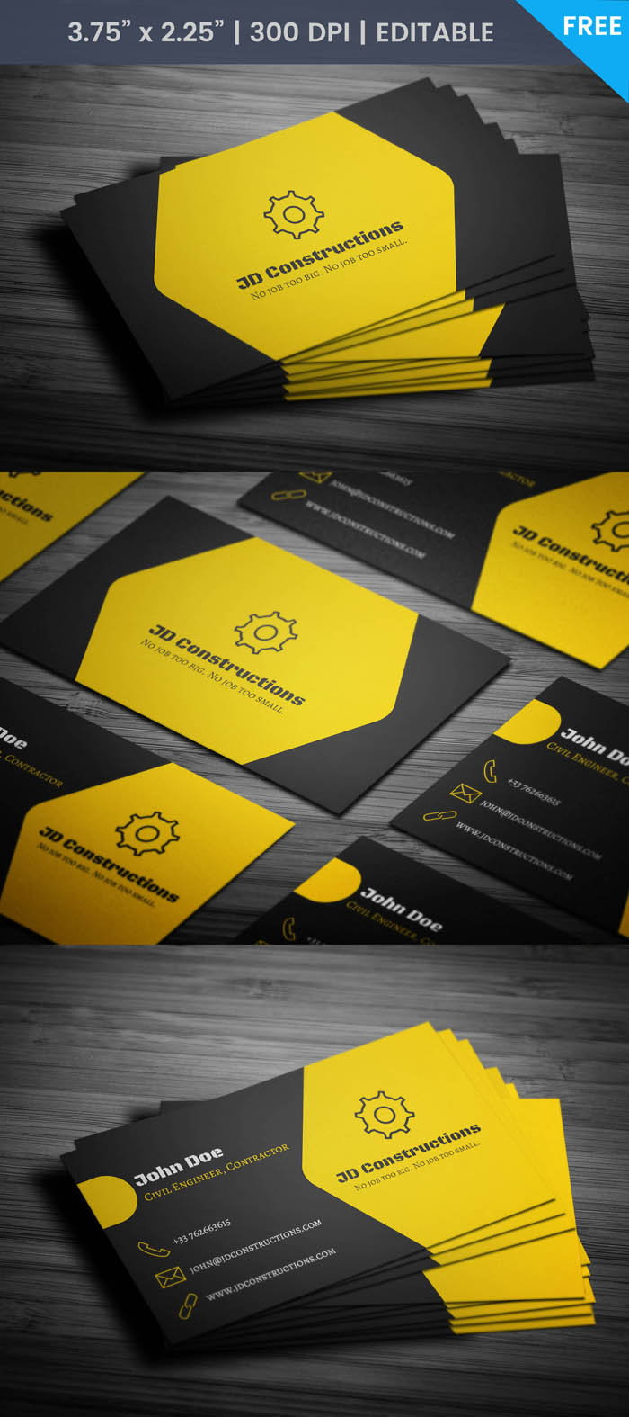 Free Construction Company Business Card Template