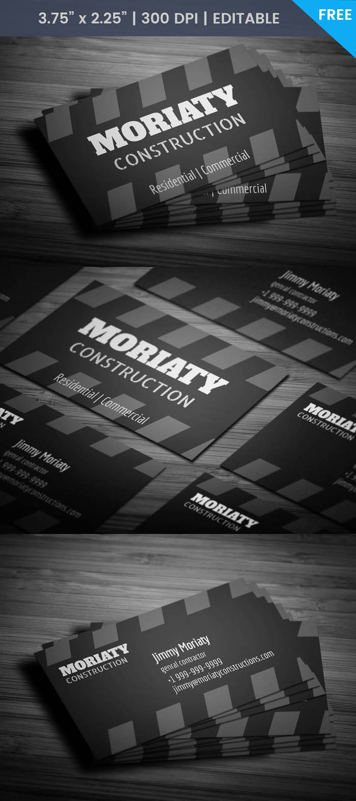 Free Sleek Contractor Business Card #template, #construction