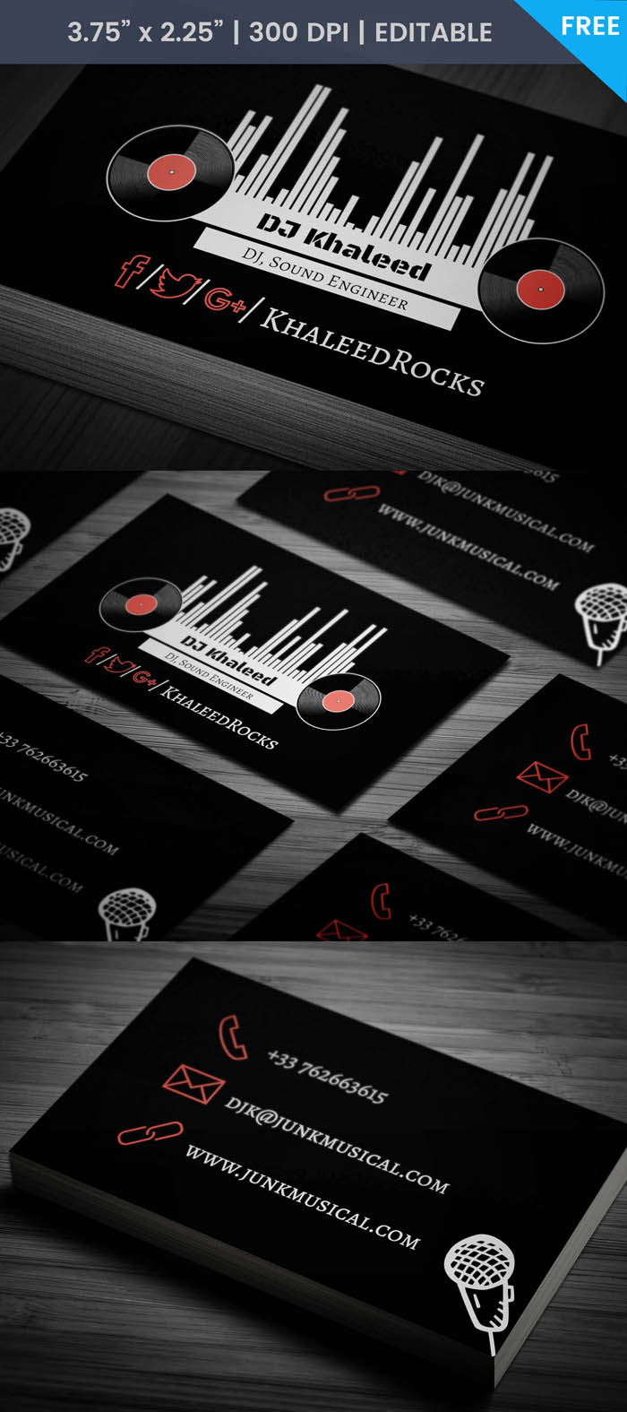 Free Vinyl Record Business Card Template