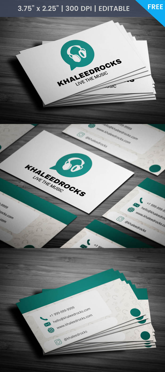 Free Whatsapp Themed Dj Business Card Template