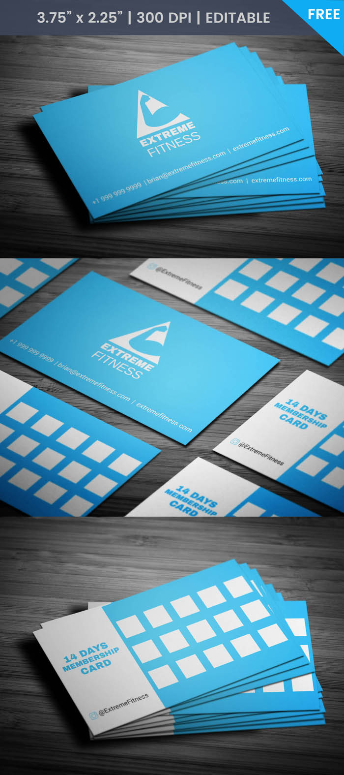 Free Fitness Club Membership Business Card Template