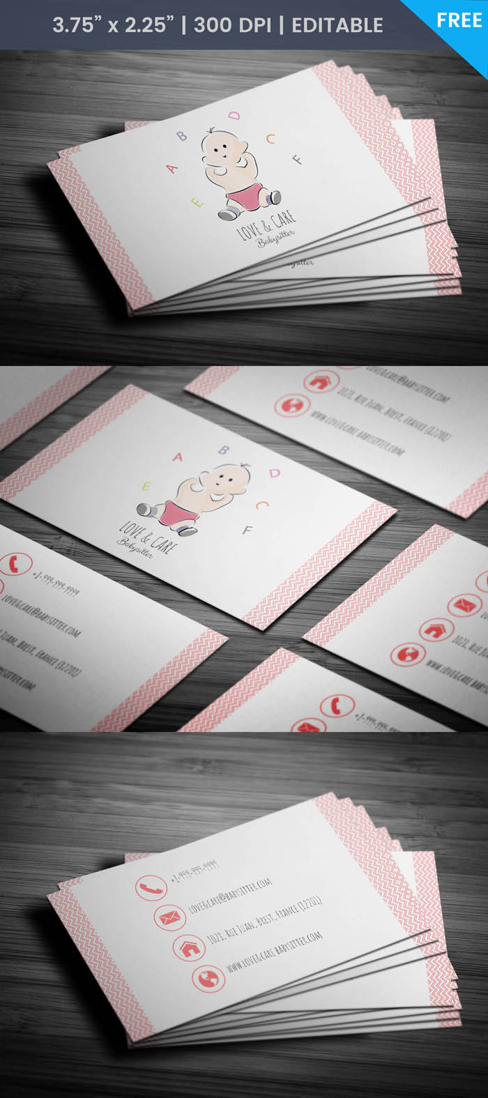 Free Super Cute Child Care Business Card Template