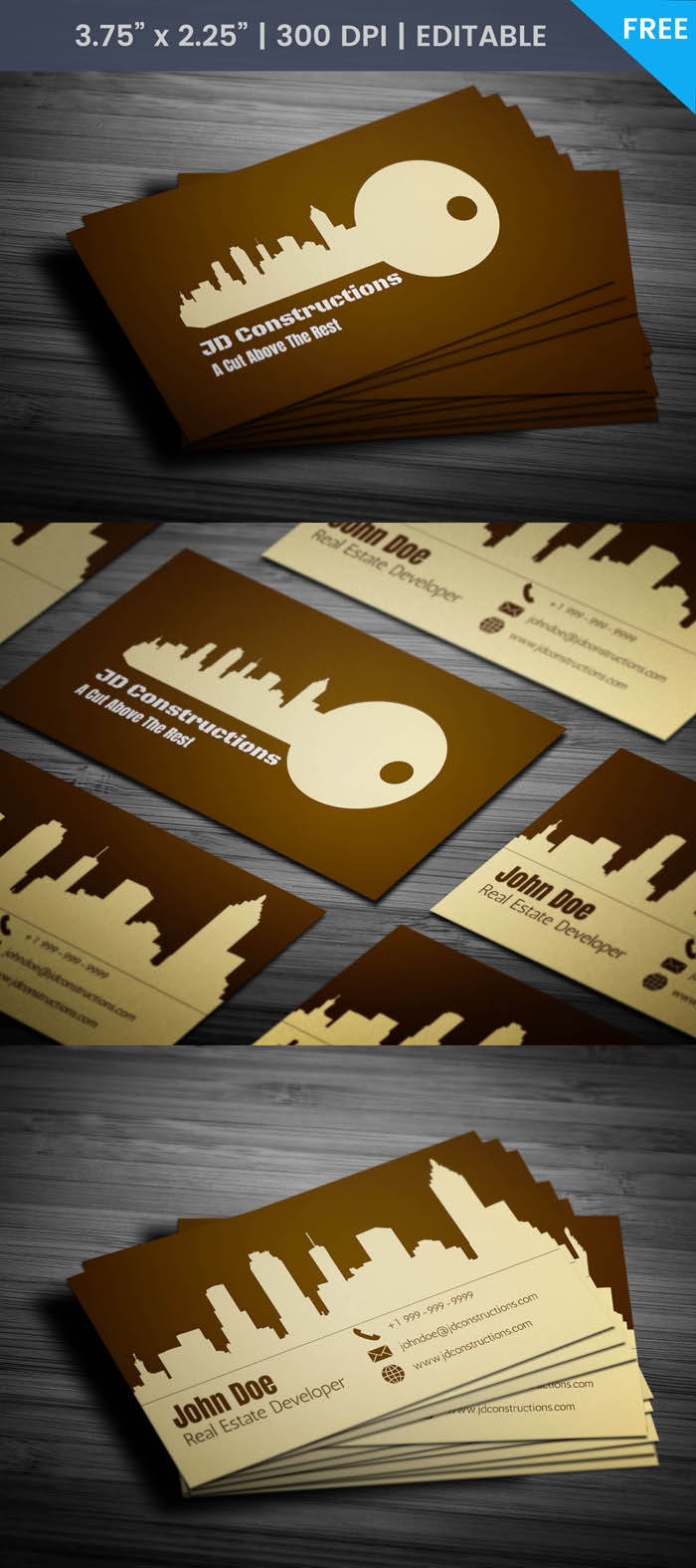 Free Unique Construction Business Card Template