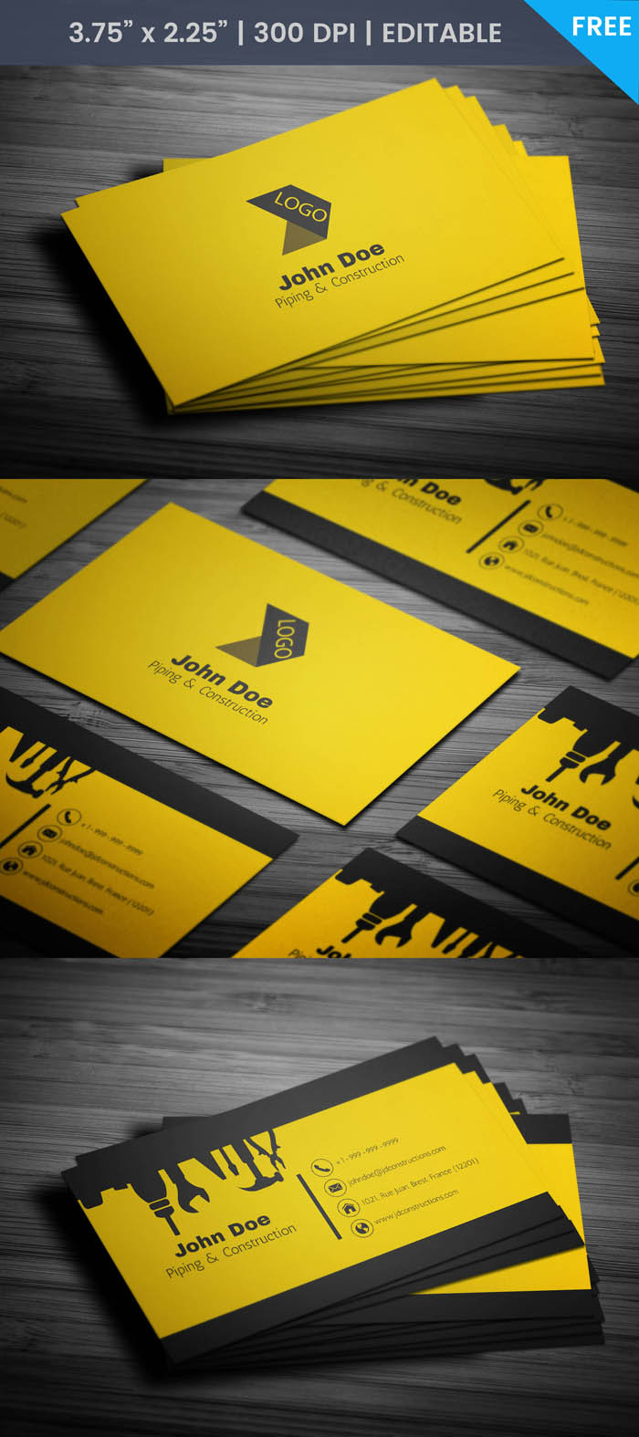 Free Cool Construction Business Card Template