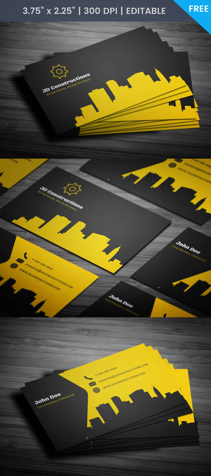 Free Constructor Business Card Template