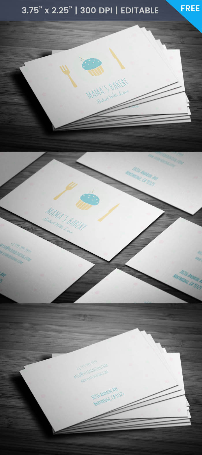 Free Cute Bakery Business Card Template