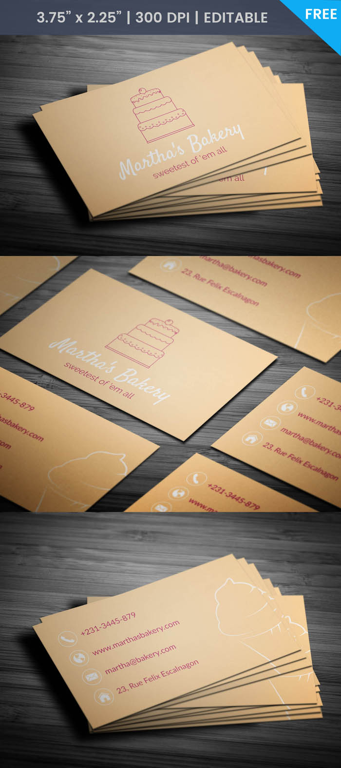 Free Minimal Bakery Business Card Template