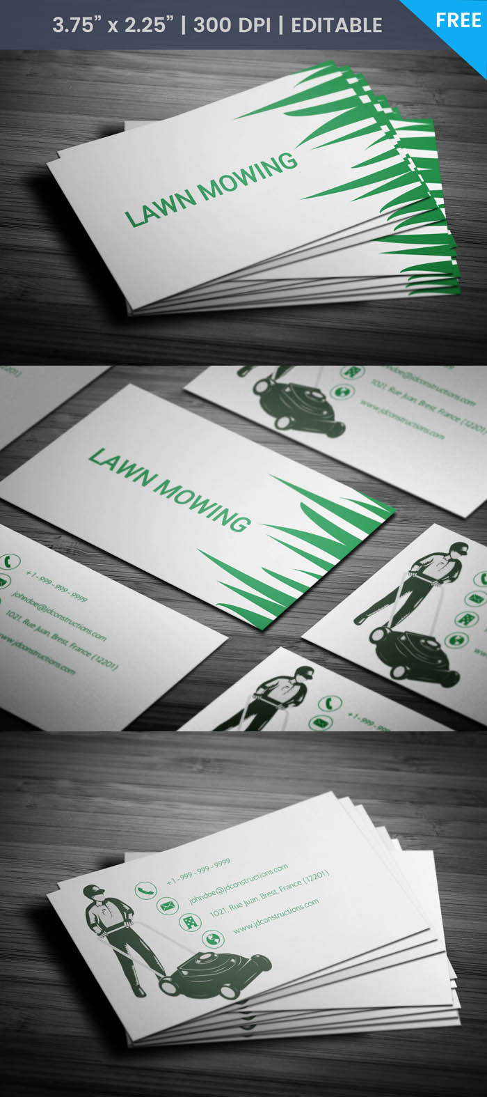 Free Lawn Maintenance Business Card Template