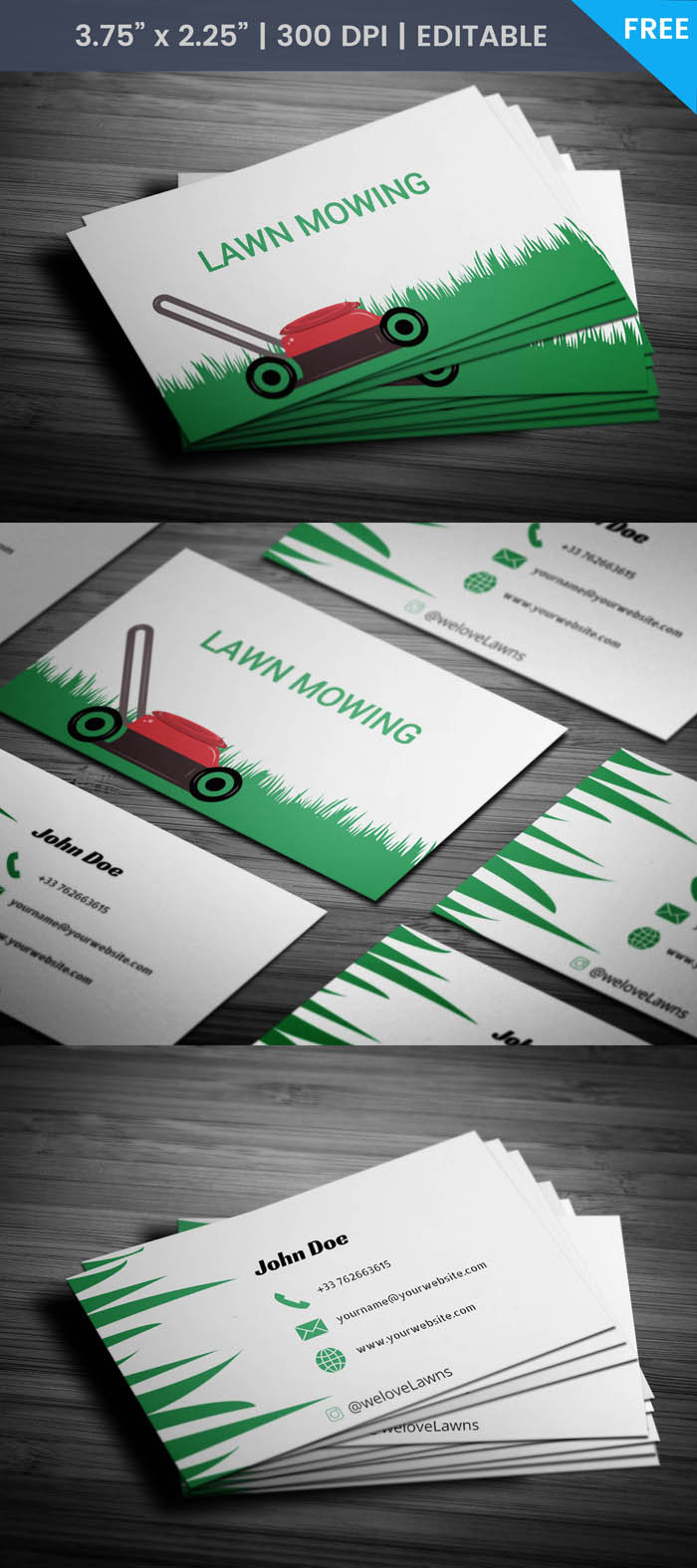Free Lawn Mowing Business Card Template