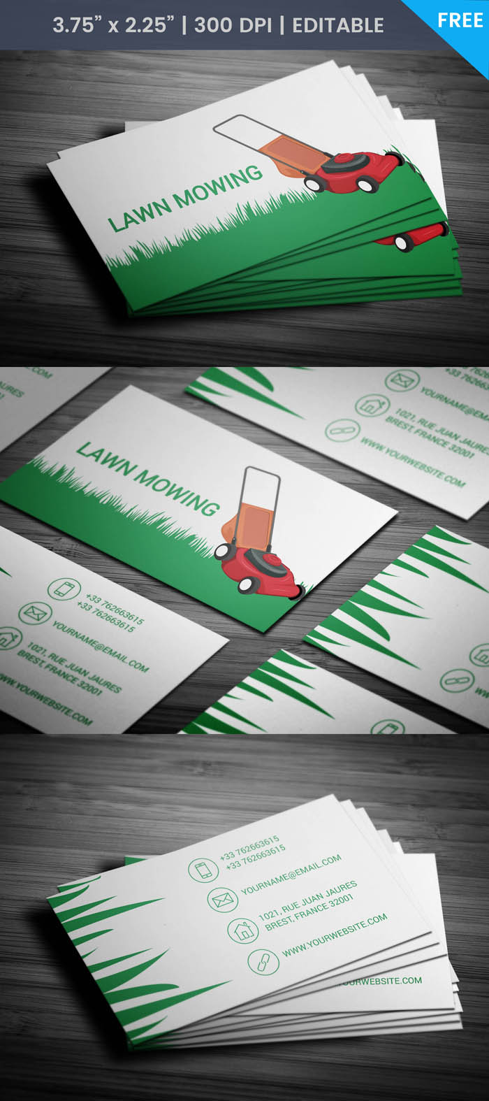 Free Lawn Care Business Card