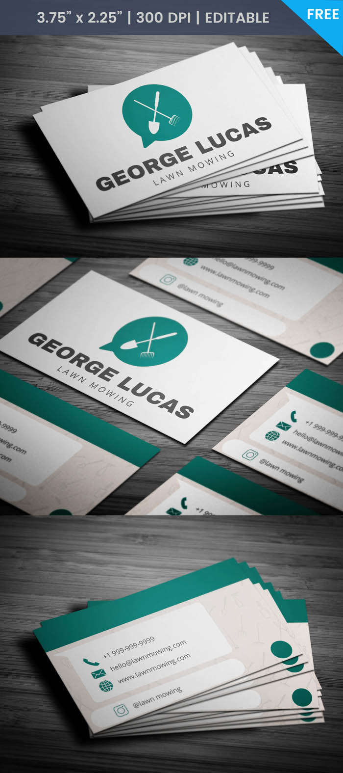 Free Whatsapp Themed Lawn Care Business Card Template