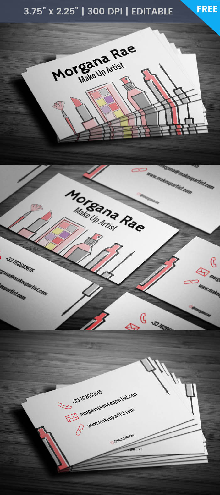 Free Hand Drawn Makeup Artist Business Card Template