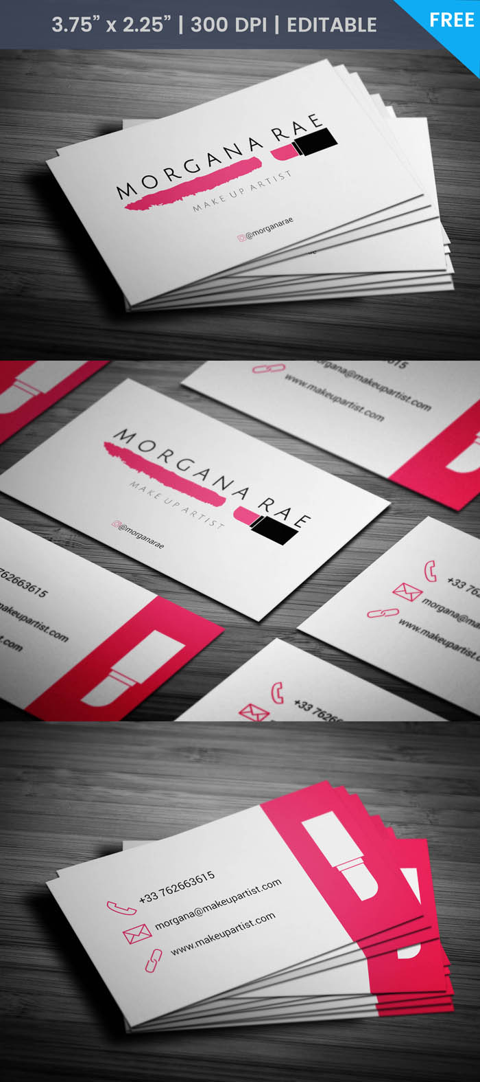 Freelance Makeup Artist Business Card - Full Preview